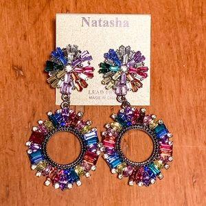 Natasha Couture Colorful Crystal Earrings